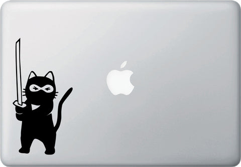 "MB - Cat - Ninja Cat - Sword Standing - D1 - Laptop Vinyl Decal © YYDC (3.25""w x 6.25""h) (BLACK)"