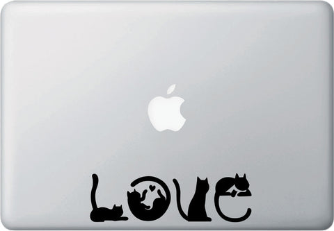 "MB - Cats Spell LOVE - Macbook or Laptop Decal - ©YYDC (6.25""w x 2""h) (Color Choices)"