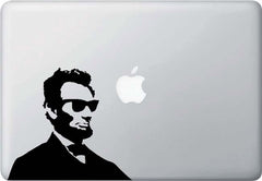 "MB - Cool Abe - Macbook or Laptop Vinyl Decal -  ©YYDC (6""w x 5.5""h) (BLACK or WHITE)"