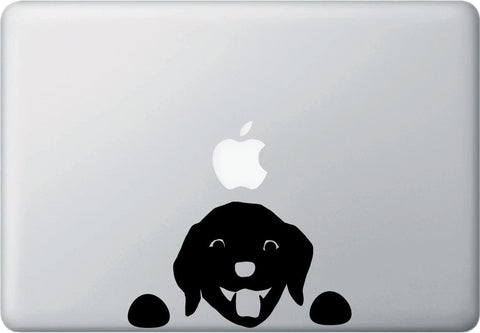 "MB - Dog Labrador Watching - Macbook or Laptop Decal - © YYDC (6""w x 3.5""h) (BLACK)"