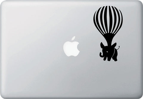 "MB - Elephant Airlift - Hot Air Balloon - Laptop / Macbook Vinyl Decal © YYDC (2.75""w x 5""h)(Color Choices)"