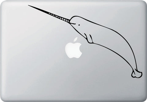 "MB - The Happy Narwhal - Macbook or Laptop Decal (10""w x 6.5""h) (Color Choices)"