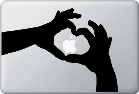 MB - Heart Hands - Macbook or Laptop Vinyl Decal (Size Choices) (Color Choices)