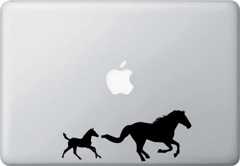 "MB - Horse Mom & Baby Foal - Laptop Vinyl Decal - ©YYDC (7""w x 2.75""h) (Color Choices)"