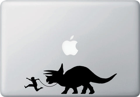 "MB- Triceratops Walker - Laptop Vinyl Decal Sticker - ©YYDC (8.5""w x 2.75""h) (BLACK)"