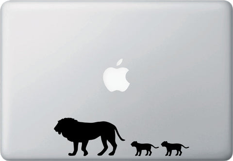 "MB - Lion Dad and Cubs - Macbook or Laptop Decal Sticker © 2015 YYDC (7.5""w x 2""h)(Color Choices)"