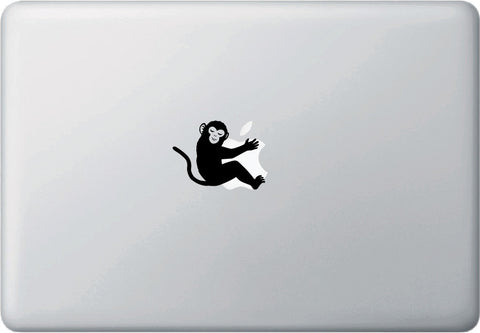 "CLR:MB - Monkey Hugging D1 - Macbook or Laptop Decal - Copyright © 2015 Yadda-Yadda Design Co. (2.5""w x 1.75""h) (BLACK)"