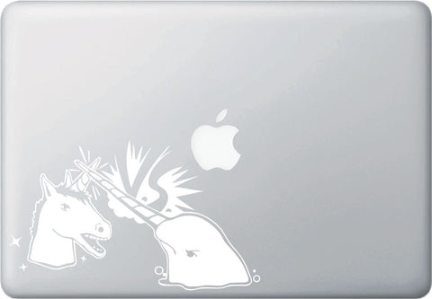 "MB - Narwhal V Unicorn Laptop Decal - Design 2 - Vinyl Macbook Sticker ©YYDCo. (7.5""w x 4.5""h) (WHITE)"