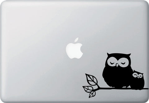 "MB - Owl Parent and Child on Branch - D1 - Macbook or Laptop Decal © YYDC (5.75""w x 4""h)(COLORS)"