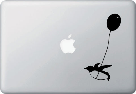 "MB - Flying Balloon Penguin - D1 - Macbook or Laptop Decal - ©YYDC (3.5""w x 6.5""h) (BLACK)"