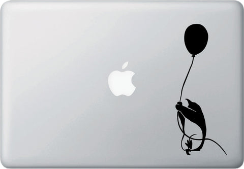 "MB - Flying Balloon Penguin Grabbing Rope - D2 - Laptop Decal - ©YYDC (2.75""w x 7""h) (BLACK)"