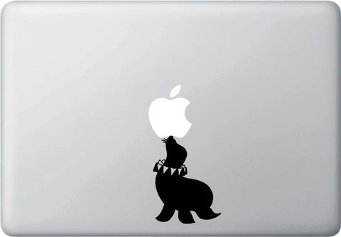 "MB - Seal Balancing Act - Macbook or Laptop Vinyl Decal  ©YYDC (2.5""w x 3.25""h) (BLACK)"