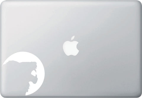 "MB - Silhouette Lion - Macbook or Laptop Decal - ©YYDC (4""w x 4""h) (WHITE)"