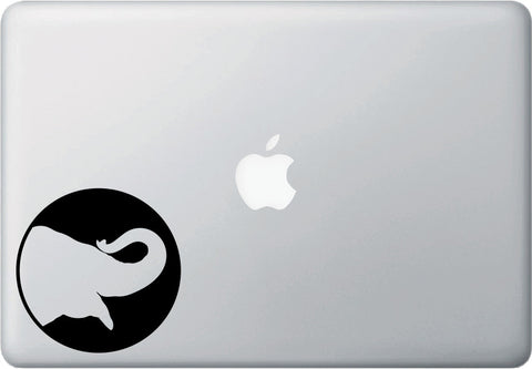 "MB - Silhouette Elephant - Macbook or Laptop Decal - ©YYDC (3.75""w x 4""h) (Color Choices)"