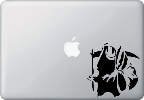 "MB - Happy Death - Smiley Face Reaper - Laptop Vinyl Decal Sticker  (4.75""w x 5""h) (BLACK)"