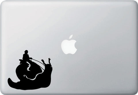"MB - Snail Rider - Macbook or Laptop Vinyl Decal - ©YYDC (4""w x 3.75""h) (BLACK)"