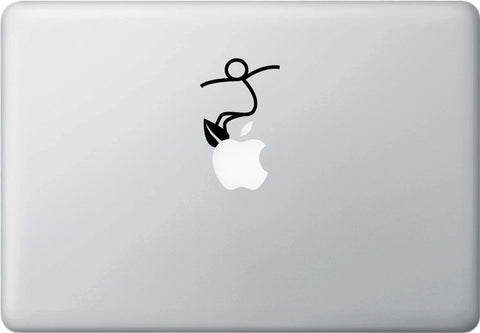 "MB - SURF - Stick Figure - Macbook or Laptop Vinyl Decal © YYDC (2""w x 2.5""h) (Color Choices)"