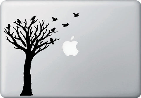 "MB - Bare Tree with Flying Birds - D2 - Laptop Vinyl Decal - ©YYDC (7""w x 7.5""h) (COLOR CHOICES)"