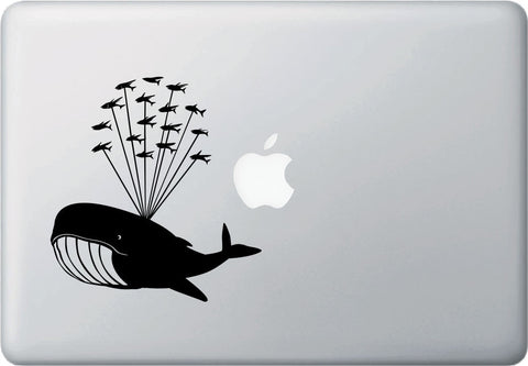 "MB - Whale Airlift with Flying Fish - Design 1 - Whale Laptop Decal Vinyl Sticker ©YYDCo. (5""w x 5.5""h)(Color Choices)"