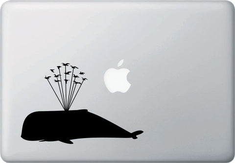 "MB - Whale Airlift with Flying Birds - Design 2 - Whale Laptop Decal Vinyl Sticker ©YYDCo. (6.75""w x 4.5""h)(Color Choices)"