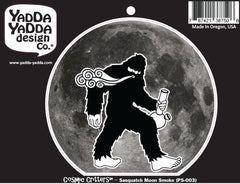 "PS-003 - Sasquatch Smoking Bong Under the Full Moon - Bigfoot Bong - Peel and Stick Vinyl Decal ©YYDCo. (4""w x 6""h)"