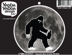 "PS-004 - Sasquatch w Beer Growler Under the Full Moon - Bigfoot Growler - Peel and Stick Vinyl Decal ©YYDCo. (4.5""w x 4""h)"