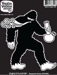 "PS-005 - Bong Squatch - Smokin Sasquatch w Bong - Bigfoot - Peel and Stick Vinyl Decal ©YYDCo. (4.5""w x 5""h)"