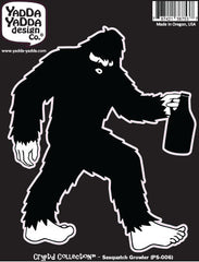 "PS-006 - Sasquatch w Beer Growler - Bigfoot Growler - Peel and Stick Vinyl Decal ©YYDCo. (4.5""w x 5.25""h)"