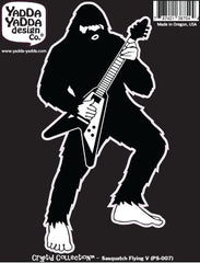 "PS-007 - Sasquatch Rocks Out on Flying V Guitar - Bigfoot Guitar Solo - Peel and Stick Vinyl Decal © 2015 YYDCo. (3""w x 6""h)"