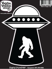 "PS-008 - Sasquatch UFO Abduction - Bigfoot - Aliens - Peel and Stick Vinyl Decal ©YYDCo. (4""w x 5.5""h)"