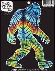 "PS-010 - Rainbow Tie Dye Sasquatch - Bigfoot - Peel and Stick Vinyl Decal Sticker © YYDCo. (4""w x 6""h)"