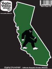 "PS-013 - Sasquatch W Growler in California - Bigfoot Beer Lover - Peel and Stick Vinyl Decal ©YYDCo. (3.5""w x 5.75""h)"