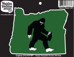 "PS-016 - Sasquatch W Growler in Oregon - Bigfoot Beer Lover - Peel and Stick Vinyl Decal ©YYDCo. (5""w x 4""h)"