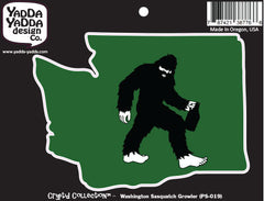 "PS-019 - Sasquatch w Growler in Washington - Bigfoot Beer Lover - Peel and Stick Vinyl Decal ©YYDCo. (5""w x 3.75""h)"