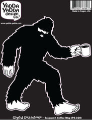 "PS-020 - Sasquatch w Coffee Mug - Bigfoot Coffee Lover - Peel and Stick Vinyl Decal ©YYDCo. (4.75""w x 5""h)"