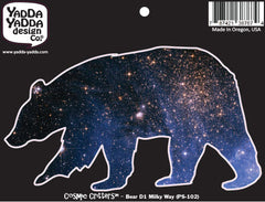 "PS-102 - Cosmic Milky Way Galaxy Bear - Design 1 - Peel and Stick Vinyl Decal - Copyright © YYDC (6""w x 3.5""h)"