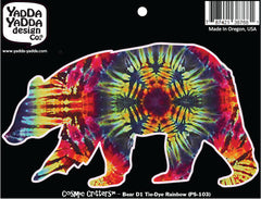 "PS-103 - Rainbow Tie Dye Bear - Design 1 - Peel and Stick Vinyl Decal - Copyright © YYDC (6""w x 3.5""h)"