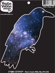 "PS-105 - Cosmic Milky Way Galaxy Raven - Crow - Peel and Stick Vinyl Decal - Copyright © YYDC (4.75""w x 5.25""h)"
