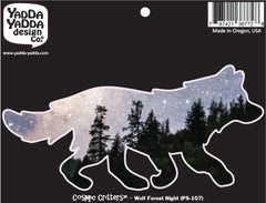 "PS-107 - Cosmic Forest Night Wolf - Peel and Stick Vinyl Decal - Copyright © YYDC (6""w x 3""h)"