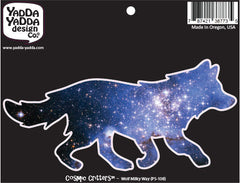 "PS-108 - Cosmic Milky Way Galaxy Wolf - Peel and Stick Vinyl Decal - Copyright © YYDC (6""w x 3""h)"