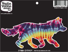 "PS-109 - Rainbow Tie Dye Wolf - Peel and Stick Vinyl Decal - Copyright © YYDC (6""w x 3""h)"