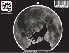 "PS-110 - Wolf Howling at Full Moon - Peel and Stick Vinyl Decal - Copyright © YYDC (4.5""w x 4""h)"