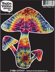 "PS-112 - Rainbow Tie Dye Mushrooms - Magic Mushroom - Peel and Stick Vinyl Decal - Copyright © YYDC (4.75""w x 5.25""h)"
