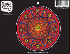 "PS-203 - FIRE Element Mandala - Peel and Stick Vinyl Decal - © 2015 YYDC (4"" diameter)"