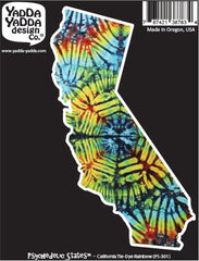 "PS-301 - California Rainbow Tie Dye - California State -  Peel and Stick Vinyl Decal - Copyright © YYDC (5.75""w x 3.25""h)"