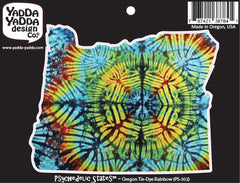 "PS-302 - Oregon Rainbow Tie Dye - Oregon State -  Peel and Stick Vinyl Decal - Copyright © YYDC (5""w x 4""h)"