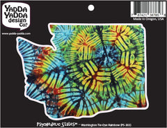 "PS-303 - Washington Rainbow Tie Dye - Washington State -  Peel and Stick Vinyl Decal - Copyright © YYDC (5""w x 3.5""h)"