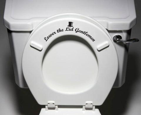 TOIL - Lower Lid Gentlemen - Toilet Seat Bathroom - Vinyl Sticker Decal  © YYDC (Color Choices)
