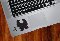 "TP -  Lovebirds - Bird Pair - Heart - Nest  - Vinyl Trackpad Tablet Decal - Copyright 2014 © YYDC (3""w x 2.25""h)(Color Choices)"