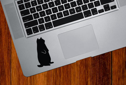 "TP - Fat Cat Standing - Trackpad / Keyboard - ©Yadda-Yadda Design Co. (1.5""w x 2.75""h) (BLACK)"